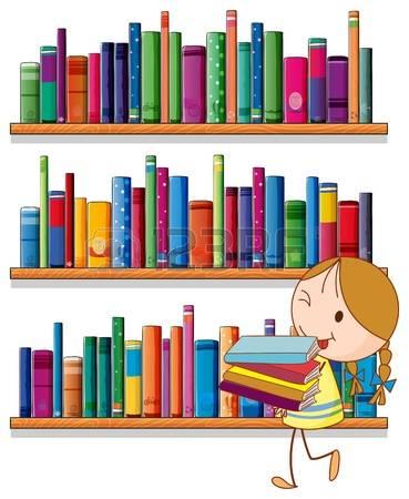 20518176 illustration d une petite fille dans la biblioth que sur un fond blanc